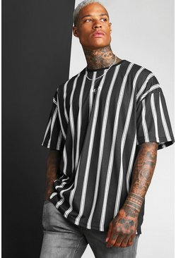 Black Oversized Stripe MAN Roman T-Shirt