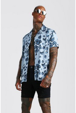 Blue Viscose Short Sleeve Abstract Print Hi-Lo Set