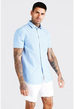 Blue Short Sleeve Seersucker Stripe Shirt