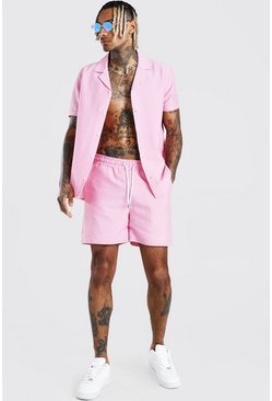 Pink Short Sleeve Revere Collar Shirt & Short Set