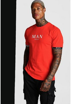 Fire red MAN Roman T-Shirt With Tape Cuff