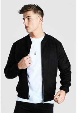 Black Faux Suede Unlined Smart Bomber