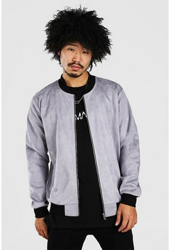 Grey Faux Suede Unlined Smart Bomber