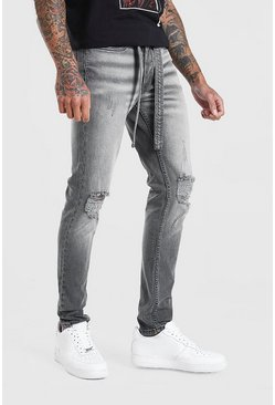Grey grå Skinny Distressed Jean With Belt