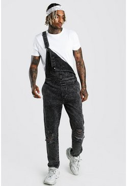 Charcoal grey Slim Rigid Acid Wash Overall With Knee Rips