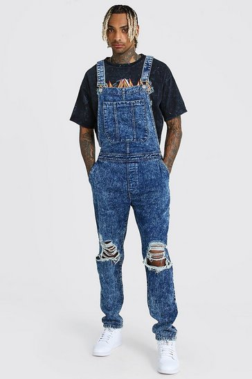 Blue Slim Rigid Acid Wash Dungaree With Knee Rips