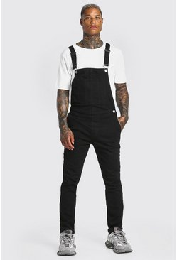 Washed black Skinny Stretch Long Denim Dungarees