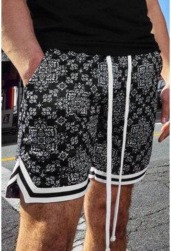 Black Bandana Print Airtex Basketball Short