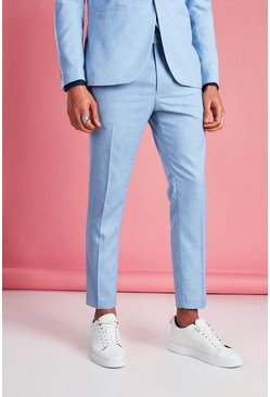 Light blue Skinny Fit Cropped Suit Trouser