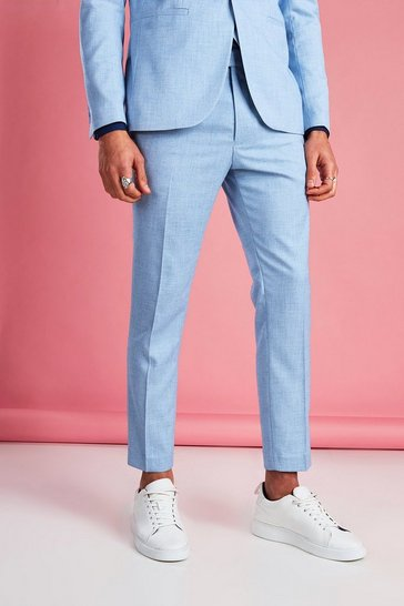 Light blue blue Skinny Fit Cropped Suit Trouser