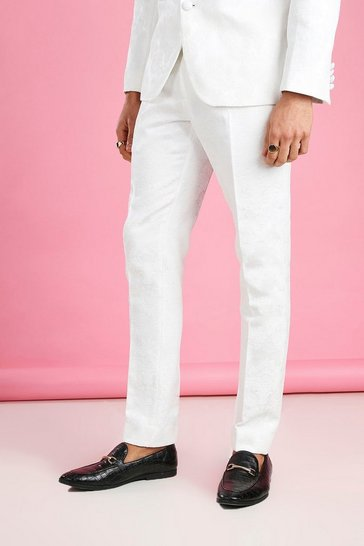 White Skinny Prom Floral Jacquard Suit Trouser