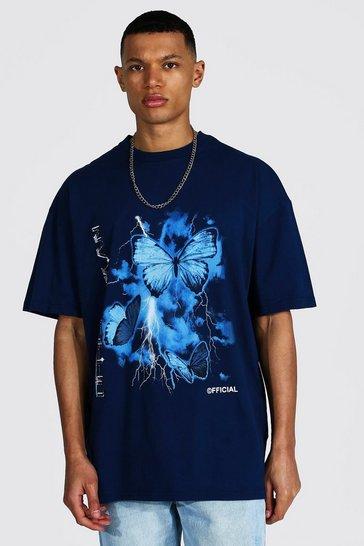Navy Tall Oversized Crew Neck T-shirt