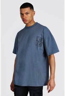 Grey Tall Oversized Extended Neck Acid Wash Tshirt