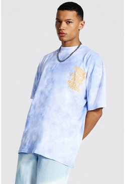 Pale blue blue Tall Oversized Extended Neck Tie Dye T-shirt