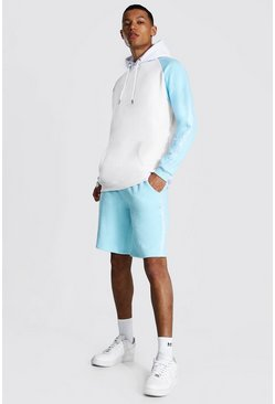 Pastel blue blue Tall Man Colour Block Hooded Short Tracksuit