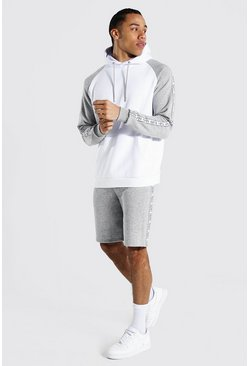 Grey marl grey Tall Man Colour Block Hooded Short Tracksuit