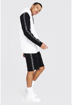 White Tall Man Colour Block Hooded Short Tracksuit