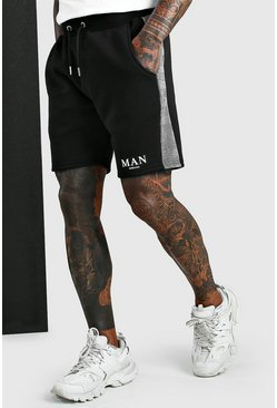 Black MAN Roman Jacquard Panel Shorts