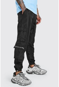 Black Shell Multi Pocket Cargos