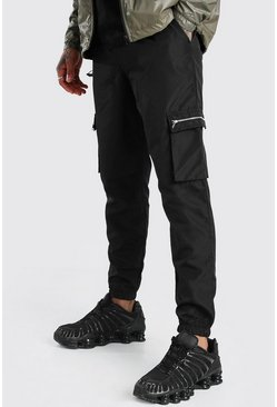 Black Nylon Cargo Pants With Zips