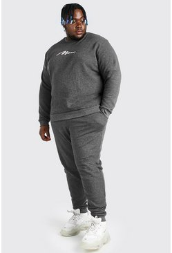 Charcoal grey Plus Size 3D MAN Script Pique Tracksuit