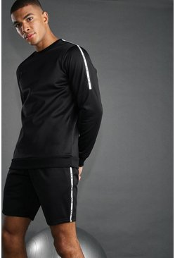 Zwart black MAN ACTIVE SHORTSET MET REFLECTERENDE BIES