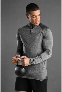 Charcoal grey MAN Active Raglan Skinny Fit Funnel Neck Top