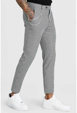 White Skinny Cropped Gingham Check Trouser With Chain