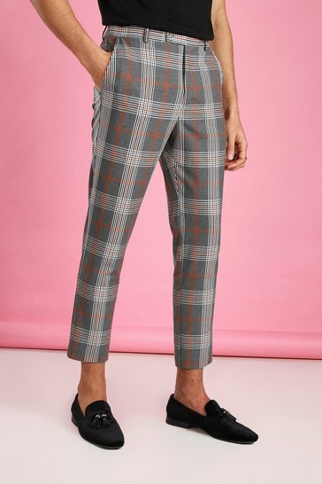 Grey Skinny Cropped Check Trouser