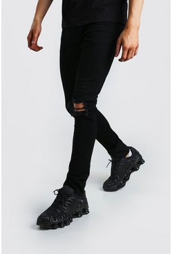 Black Super Skinny Jeans With Busted Knee