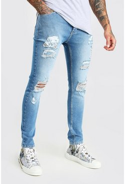 Light blue Super Skinny All Over Rip Jeans