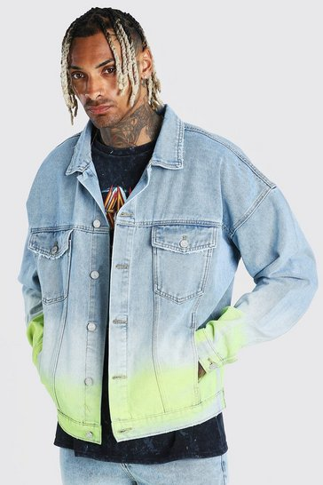 Light blue blue Oversized Ombre Spray Paint Denim Jacket