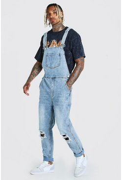 Ice blue Slim Denim Dungarees With Busted Knees