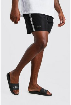 Black Plus Size MAN Iridescent Tape Swim Short