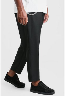 Black Plus Size Tapered Cropped Pants With Chain