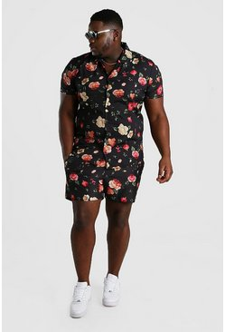 Black Big And Tall Floral Print Shirt And Short Set