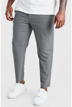 Charcoal grey Plus Size Skinny Pinstripe Woven Jogger