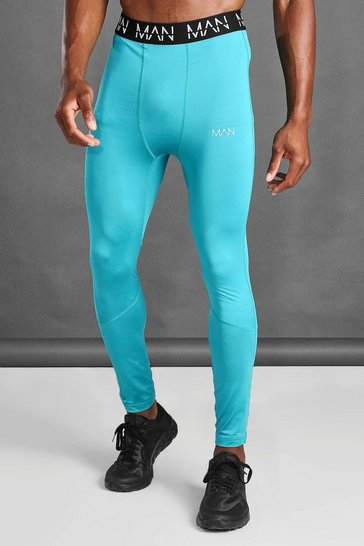 Teal green MAN Active Compression Tights