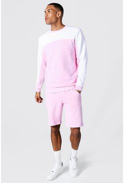 Pink Tall Man Tape Colour Block Short Tracksuit