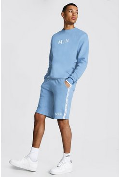 Dusty blue blue Tall Man Trainingspak Met Shorts, Tekst En Streep