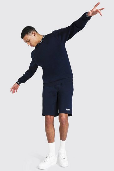 Navy Tall Short Sweater Tracksuit With Man Rib