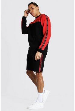 Red Tall Man Tape Colour Block Short Tracksuit
