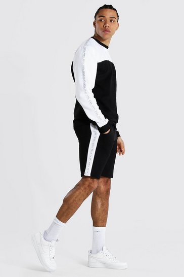 Black Tall Man Tape Colour Block Short Tracksuit