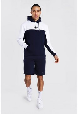 Navy Tall Man Tape Colour Block Short Tracksuit