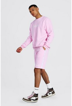 Pastel pink pink Tall Man Roman Short Tracksuit With Tape
