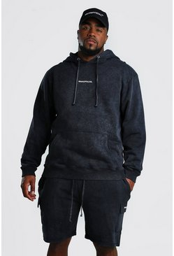 Black Plus Size Cargo Short Hooded Tracksuit