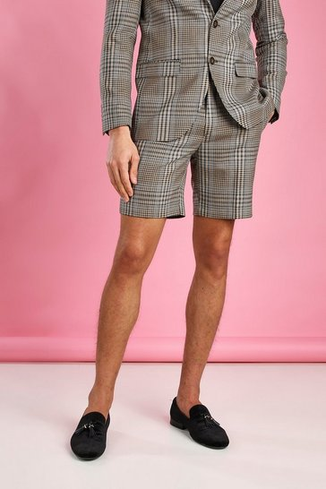 Taupe beige Skinny Dogtooth Check Shorts