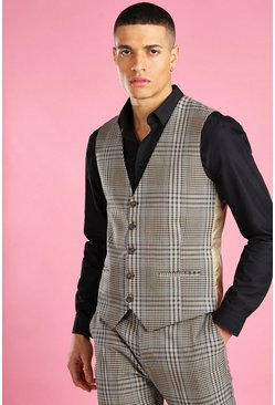 Taupe Skinny Dogtooth Check Waistcoat