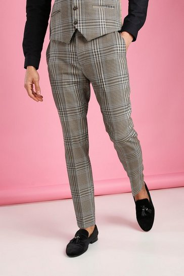 Taupe beige Skinny Dogtooth Check Trouser
