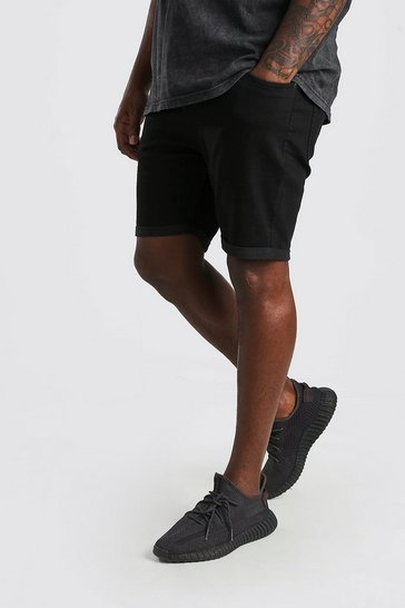 Black Plus Size Skinny Fit Denim Shorts